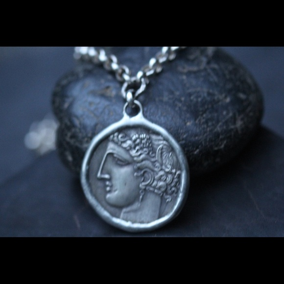Sterling Silver Greek Coin Pendant Boutique